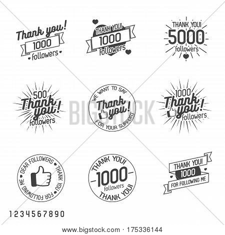 Thank you for followers label set isolated on white background. Vector Illustration