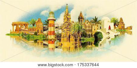 KARACHI city water color painting panoramic illustration
