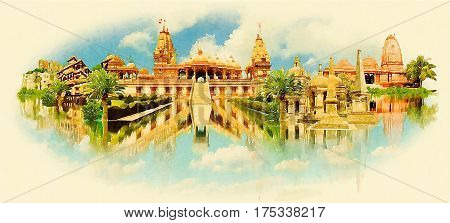 SURAT city water color painting panoramic illustration