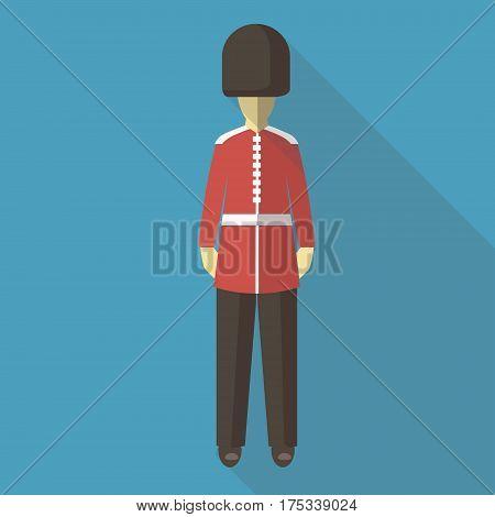 Vector illustration long shadow flat icon of english guard