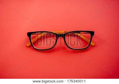 Glasses Lie . Black Orange Glasses . Office Workplace With Glass