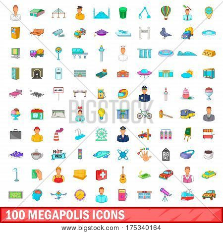 100 megapolis icons set in cartoon style for any design vector illustration