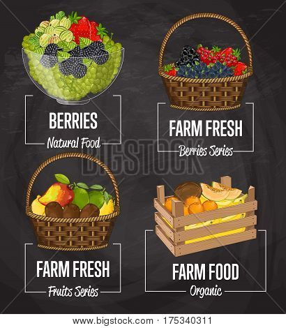 Organic farm fruit set vector illustration. Natural fruit, organic farming, vegan food store, retail farm product label. Healthy fruit advertising tag with grapes, kiwi, lemon, melon, coconut, banana
