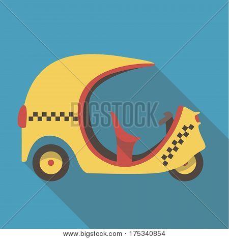 Vector illustration long shadow flat icon of tuk tuk