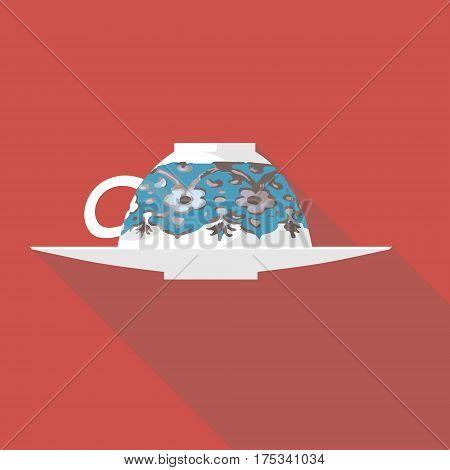 Vector illustration long shadow flat icon of turkish coffee