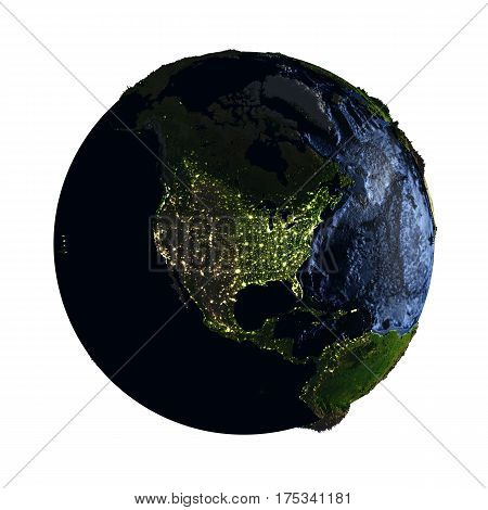 North America On Earth At Night Isolated On White