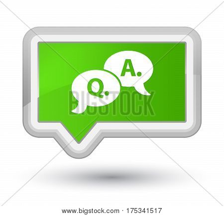 Question Answer Bubble Icon Prime Soft Green Banner Button