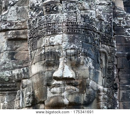 Ancient relief of Prasat Bayon temple (late 12th - early 13th century) in Angkor Thom, Cambodia