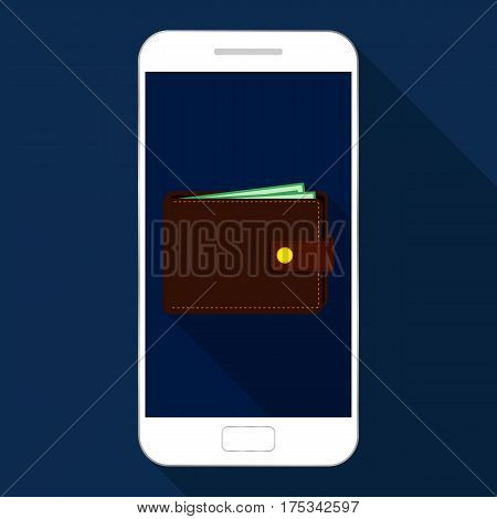 Mobile payments, online payment, phone icon with purse, payment icon. Flat design.