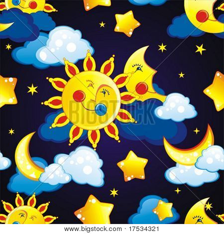 Abstract vector illustration with night elements and stars pattern on blue background