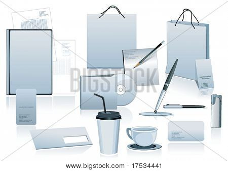 White office elements and accesories for corporate identity. Vector business set of secretarial things and supplies. Workplace with packet and folder. Collection _10