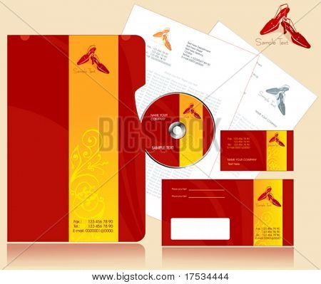 Office elements and accesories. Vector business set of secretarial things and supplies. Workplace with paper and folder. Collection _7