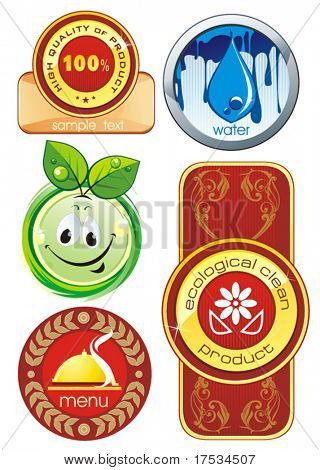Certified organic label or sticker for products - graphic illustration. Shiny Control Ecology Set of design element, vector labels for quality warranty