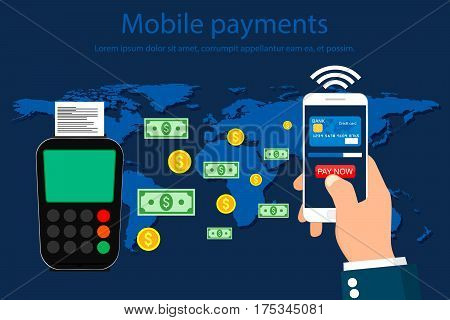 Mobile Payments and Near Field Communication. NFC Payment Online. Vector illustration.
