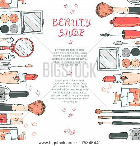 Makeup cosmetics tools background and beauty cosmetics. Isolated cosmetics products and facial cosmetics package lipstick, eyeshadow. Design template. Red and gray colors.