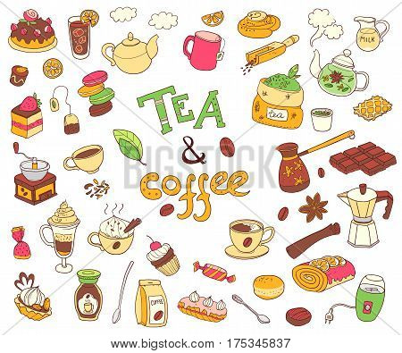 Big vector collection of doodle tae and coffee. Equipment and dessert, spoon, sweets, cake, cup, teapot, bakery and cookery. Color. White background