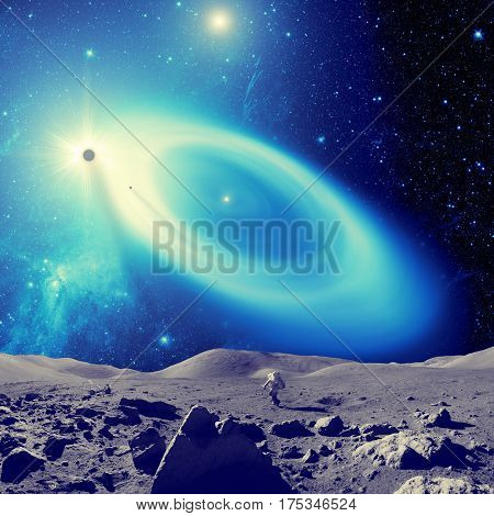Stars, galaxy and planets seen from the Moon-like surface - 3D render / illustration.