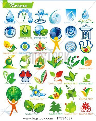 COLLECTION_2   Ecology and botanic Icon Set for design use, vector illustration. Series symbols for Web. A set of abstract color element corporate templates. Just place your own company name.