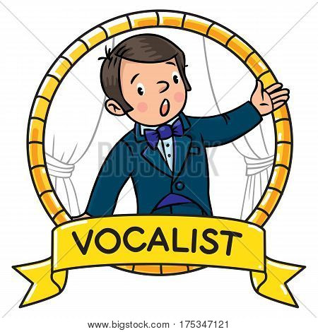Funny singer or vocalist. Profession ABC series. Children vector illustration. Emblem