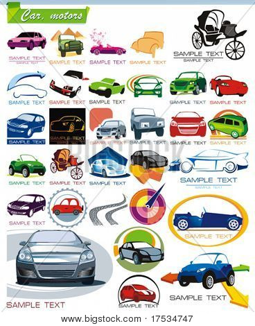 COLLECTION_7 Exclusive Series of Auto, Motors and Car Icon Set for design, vector illustration. Glossy symbols for Web. Set abstract color element corporate templates. Just place your company name.