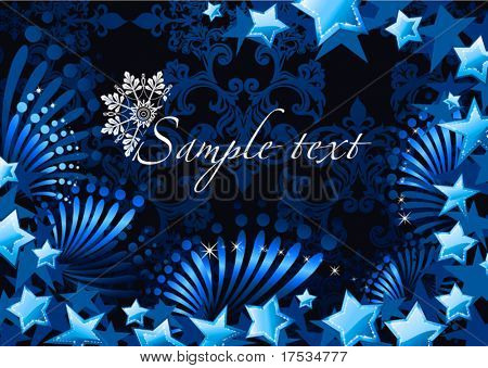 Stylized Christmas shiny stars on a dark blue vector background. Original beautiful new-year wallpaper from stylized snowflakes and stars.