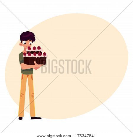 Teenage boy holding chocolate birthday cake with red roses in two hands, cartoon vector illustration with place for text. Boy, schoolboy holding birthday cake, getting ready for party