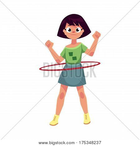 Teenage Caucasian girl spinning, playing with hula hoop, cartoon vector illustration isolated on white background. Girl with hula hoop, having fun at the playground