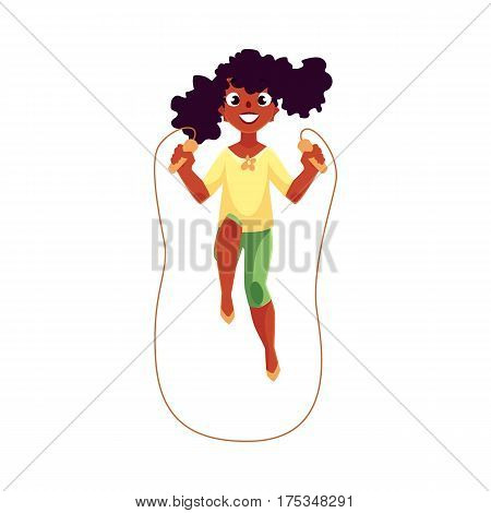 Teenage Caucasian girl playing with jumping rope at the playground, cartoon vector illustration isolated on white background. Girl spinning jumping rope, having fun at the playground