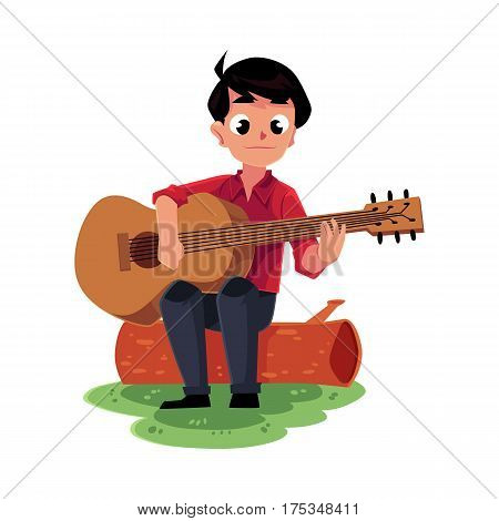 Teenage Caucasian boy playing guitar sitting on a log, camping, hiking concept, cartoon vector illustration isolated on white background. Boy scout, tourist playing guitar in camping