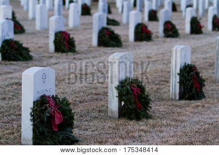 Denver Colorado-December 16 2012: Christmas Honors at the Fort Logan National Cemetery Denver.