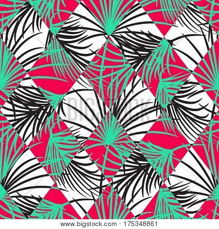 Green and red palm leaves and harlequin rhombs seamless vector pattern on white background. Tropical jungle nature leaf.
