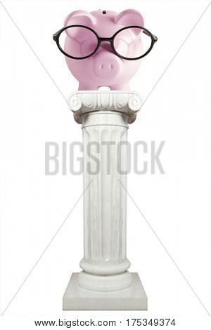 Pink piggy bank on ionic column isolated on white