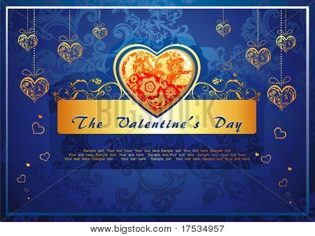 Abstract Classical congratulation card with glossy Golden hearts. Vector frame background with Place for your text. Blue illustration with hearts for design of packing - Saint Valentine's Day.
