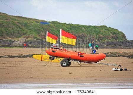 Lifeboat prepared to launch on Bigbury Beach, Devon