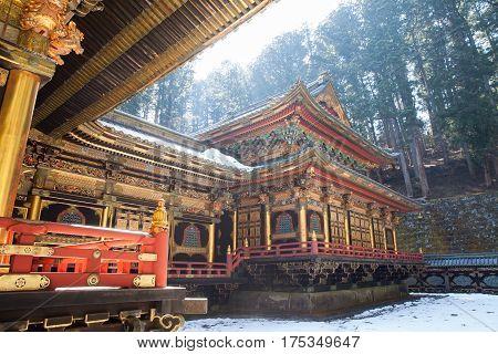 Nikko Toshogu Shrine temple in Nikko at winter Japan
