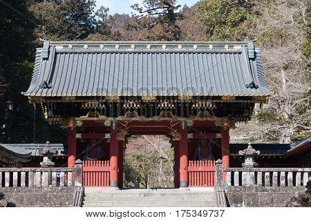 Omotemon Gate or Niomon Gate in front of Nikko Toshogu Shrine in Nikko Tochigi Japan