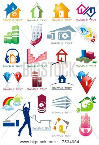 House vector Icons for Web. Construction or Real Estate concept. Abstract color element set of corporate templates. Just place your own name. Collection 22.
