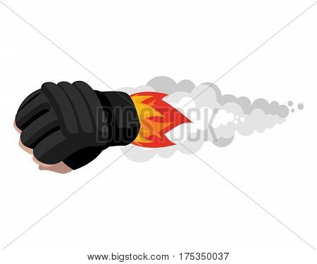 boxing glove rocket. Sport Air bomb. Fighting rocket. flaming punch. Military bomb