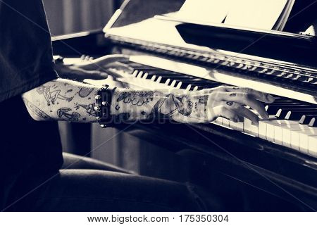 Pianist Practicing on a Grand Piano with classical music