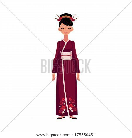 Chinese woman in traditional national costume, long cheongsam dress, cartoon vector illustration isolated on white background. Woman from China in Chinese national dress wearing hair sticks