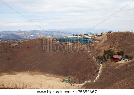 View peak of Omuro mount volcano winter in Ito cityPeninsulaJapan