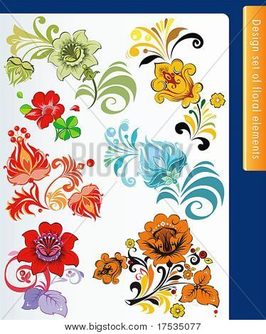 Beautiful isolated flower s on the white background. Big floral collection of color design elements. Set of different flower and leaves for self-supporting making floral ornate.