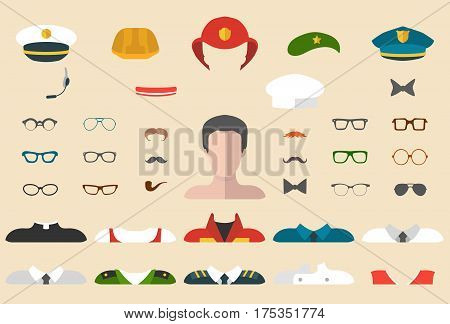 Big vector set of professions dress up constructor with different men occupation glasses mustache wear in trendy flat style. Male icon creator.