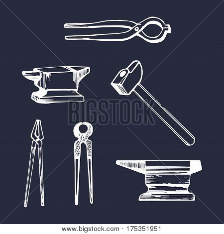 Vector illustration set of hand sketched blacksmith elements. Retro farrier icons or signs