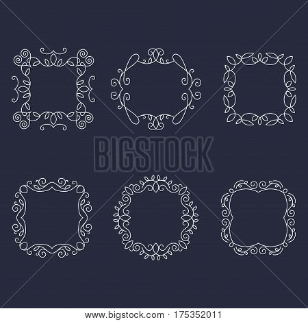 Vintage vector monogram ornamental frames set with place for text on black background