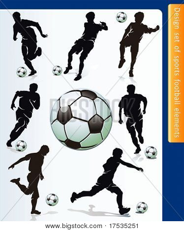 Sports design elements for Web. Soccer player and ball vector.