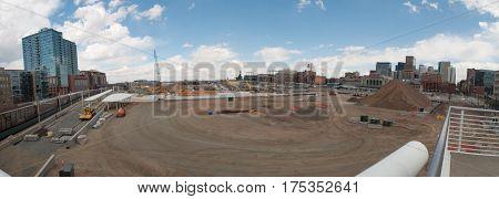 Denver Colorado USA-April 9 2011: Construction site of the Union Station redevelopment Denver Colorado.