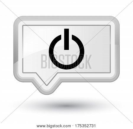 Power Icon Prime White Banner Button