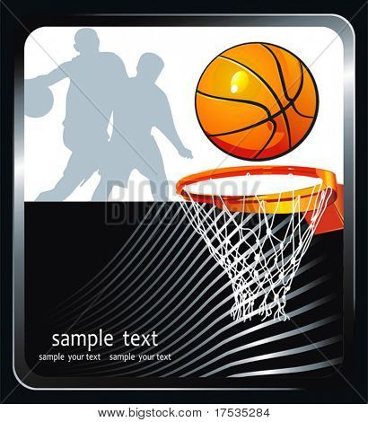 Vector Basketball background with a place for your text. Abstract sport Advertising poster. Illustration with Flaming ball for design.