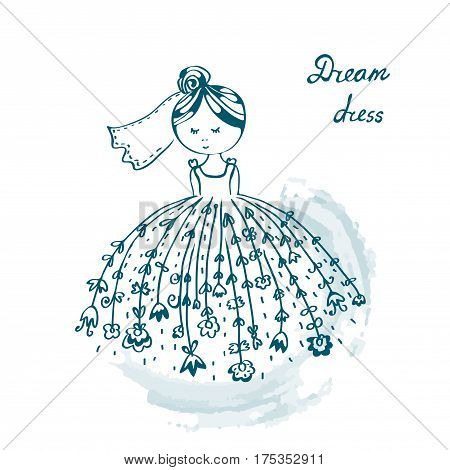 Bride in wedding dress funny card - vector graphic illustration